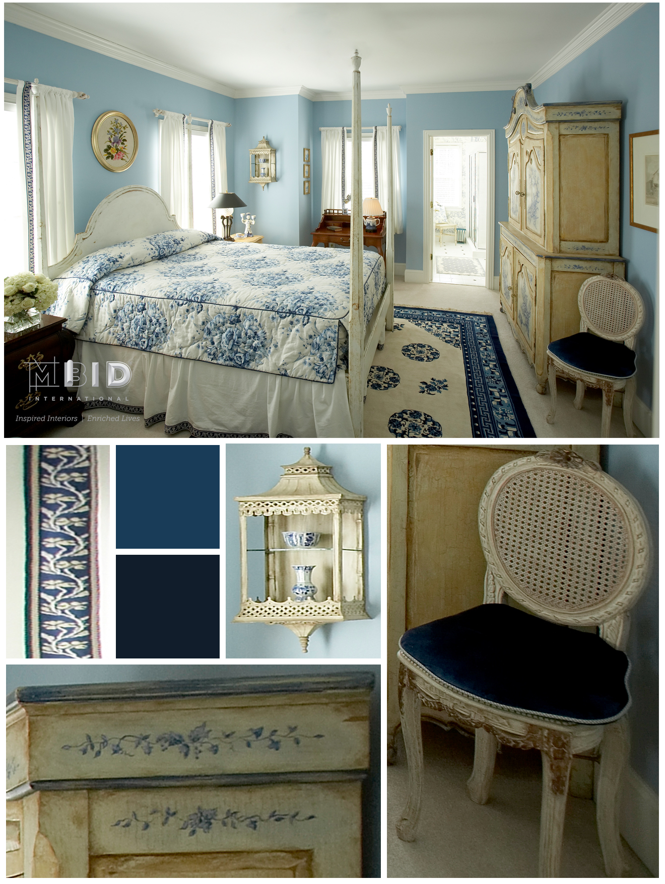 Blue And White Bedroom Interior Design North Carolina Greensboro Mbid International