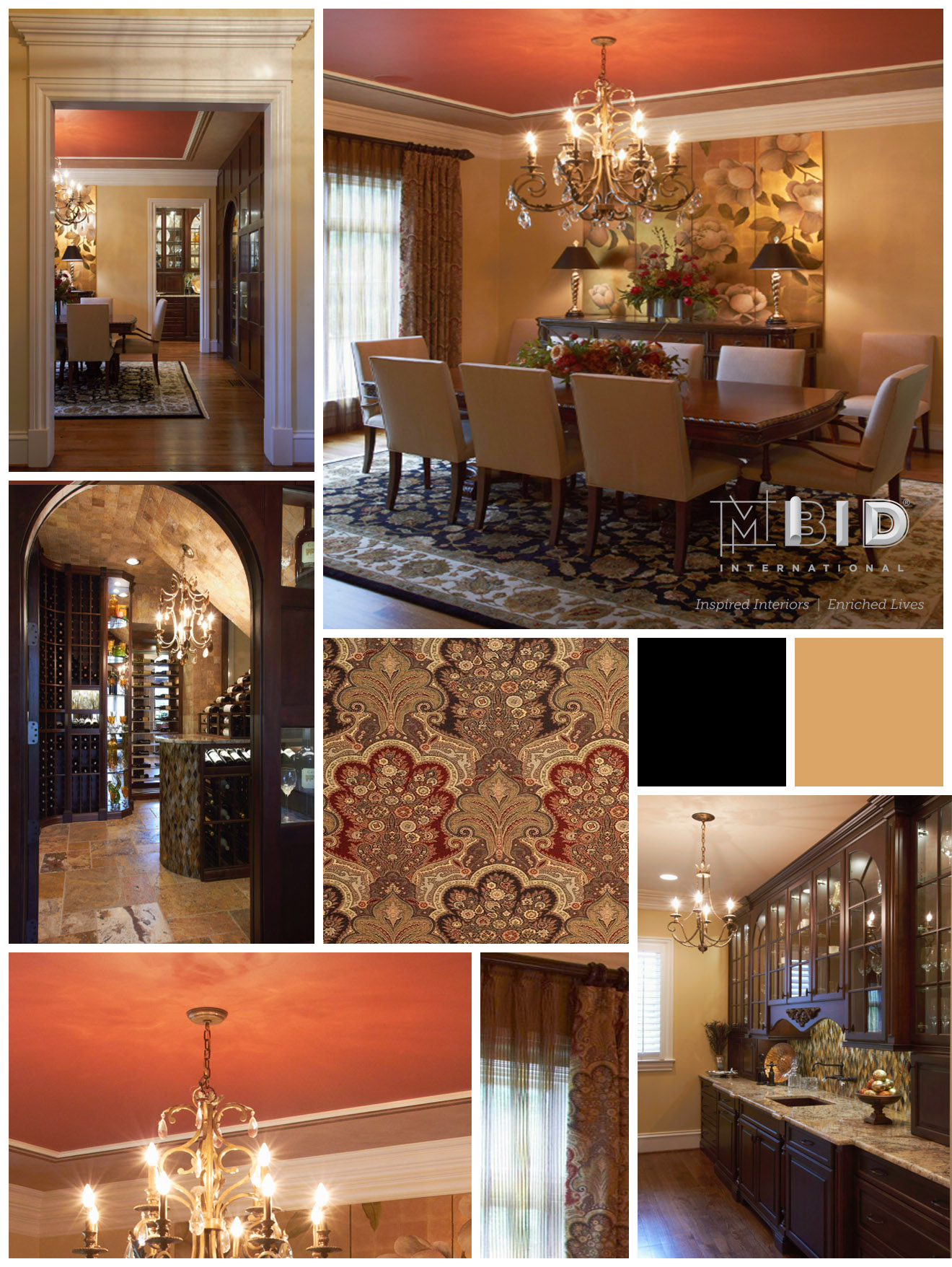 Greensboro Dining Room Black Gold Red Faux Decorative Ceiling