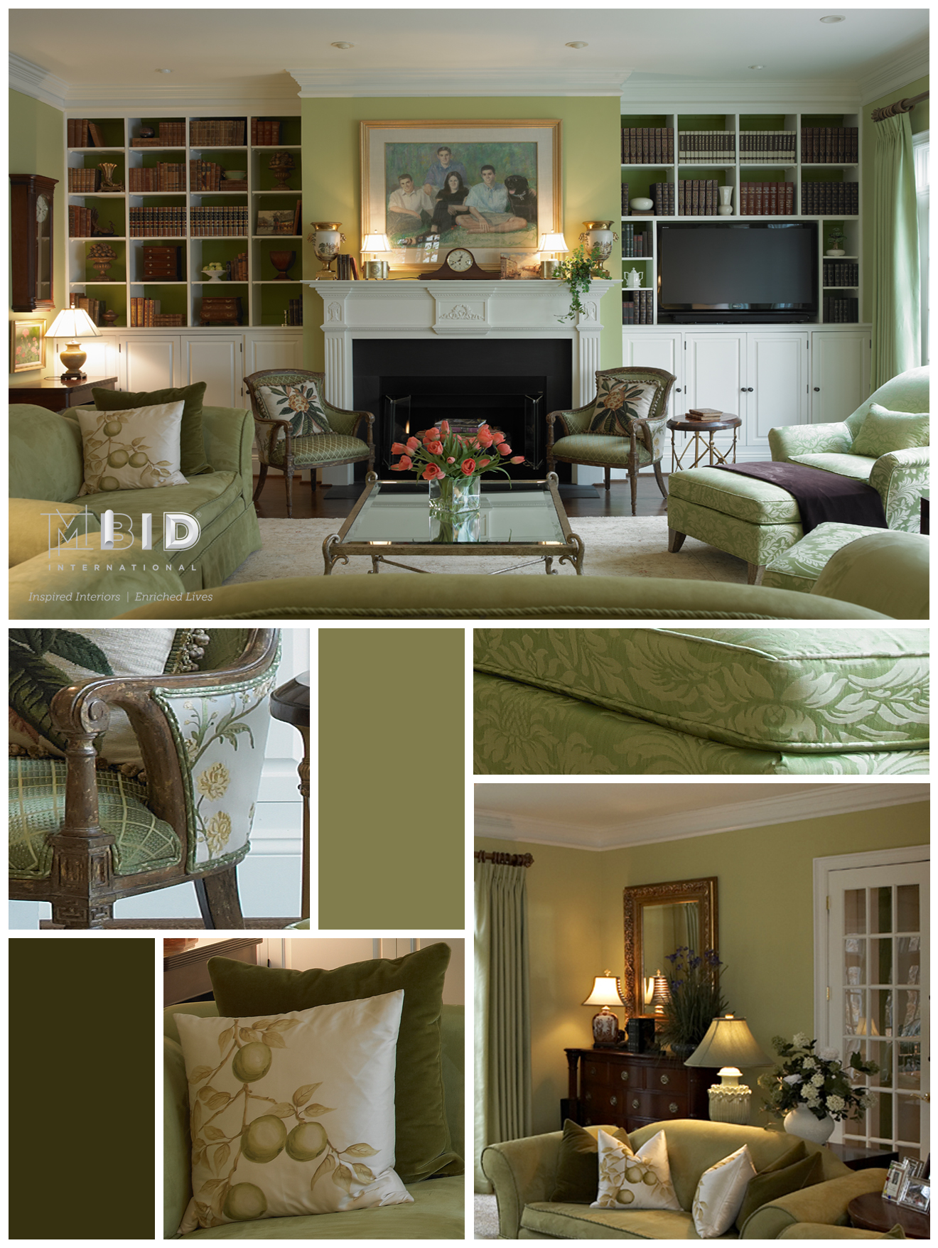 Monochromatic Green Living Room Interior Design Greensboro North