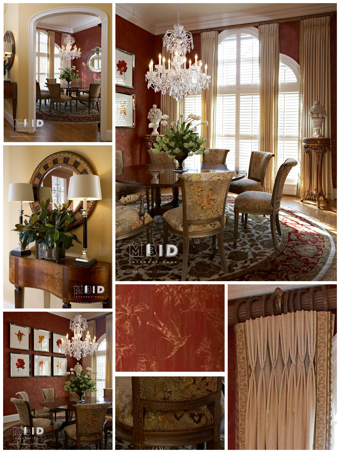Good Traditional Red And Gold Dining Room Interior Design