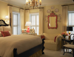 Spring Coral Color Pops in Neutral Master Bedroom