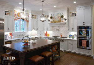 White Kitchen with Cheerful Color Carolina Custom Kitchen Design